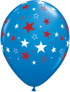 "11"" Red & White Stars on Dark Blue Latex Balloon - 50ct"