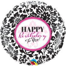 "18"" Birthday Elegant Damask Foil Balloon - Pkg"