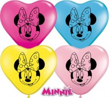 "6"" Minnie Mouse Face Heart Latex Balloons - 100ct"