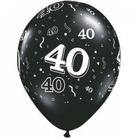 "11"" 40-A-Round Onyx Black Latex Balloons - 50ct"