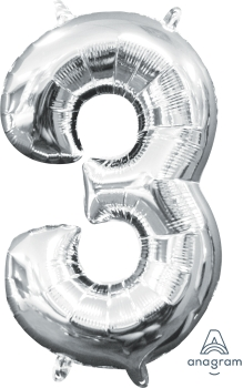"16"" Silver Number 3 Air-Fill Foil Balloon"