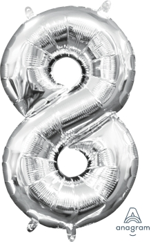 "16"" Silver Number 7 Air-Fill Foil Balloon"