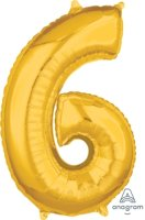 "26"" x 17"" Gold Number 6 Mid-Size Foil Balloon"