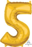 "26"" x 18"" Gold Number 5 Mid-Size Foil Balloon"