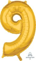 "26"" x 17"" Gold Number 9 Mid-Size Foil Balloon"