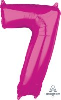 "26"" x 17"" Magenta Number 7 Mid-Size Foil Balloon"
