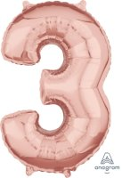 "26"" x 17"" Rose Gold Number 3 Mid-Size Foil Balloon"