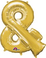"34"" Gold Ampersand (&) SuperShape Foil Balloon"