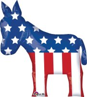 "40"" x 25"" Election Donkey SuperShape Foil Balloon - Pkg"