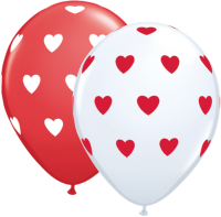 "16"" Big Hearts Red & White Latex Balloons - 50ct"