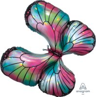 "30"" x 26"" Iridescent Teal & Pink Butterfly Holographic Foil"