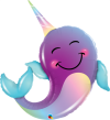 "40"" Party Narwhal Shape Foil Balloon - Pkg"