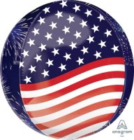 "15"" Stars, Stripes & Fireworks Orbz Balloon"