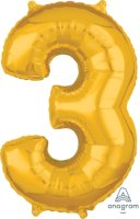 "26"" x 17"" Gold Number 3 Mid-Size Foil Balloon"