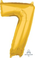 "26"" x 17"" Gold Number 7 Mid-Size Foil Balloon"
