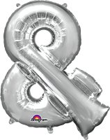 "34"" Silver Ampersand (&) SuperShape Foil Balloon"