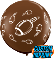 3ft Footballs-A-Round Chocolate Brown Latex Balloon - 2ct