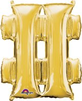"34"" Gold Hashtag (#) SuperShape Foil Balloon"