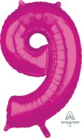 "26"" x 17"" Magenta Number 9 Mid-Size Foil Balloon"