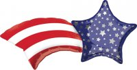 "22"" x 27"" Patriotic Shooting Star SuperShape Foil Balloon - Pkg"