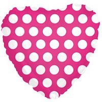 "17"" Hot Pink with White Polka Dots Heart Foil Balloon - Unpkg"