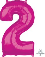 "26"" x 17"" Magenta Number 2 Mid-Size Foil Balloon"
