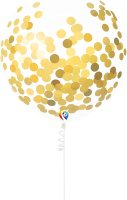 "17"" Gold Confetti Filled Clear Latex - 3ct"