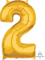 "26"" x 17"" Gold Number 2 Mid-Size Foil Balloon"