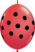 "6"" Big Polka Dot Red with Black QuickLink Balloons - 50ct"