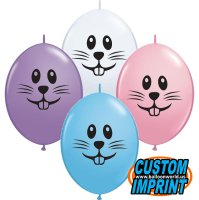 "6"" Bunny Face Assorted QuickLink Latex Balloons - 50ct"