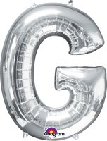 "34"" Silver Letter G SuperShape Foil Balloon"