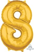 "26"" x 18"" Gold Number 8 Mid-Size Foil Balloon"