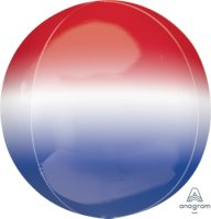 "15"" Red, White & Blue Ombre Orbz Foil Balloon - 1ct"
