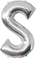 "34"" Silver Letter S SuperShape Foil Balloon"