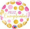 "18"" Cumpleanos Pink and Gold Dots Foil Balloon - Pkg"