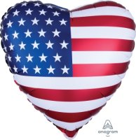 "18"" Satin Infused Heart Flag Foil Balloon - Unpkg"