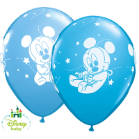 "11"" Disney Mickey Mouse Baby Stars Latex Balloons - 25ct"