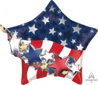 "27"" x 24"" Satin Infused Patriotic Star Garland Foil Balloon"