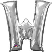 "34"" Silver Letter W SuperShape Foil Balloon"