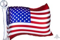 "27"" Satin USA Flag Foil Balloon - Pkg"