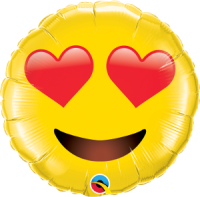 "28"" Smiley Face with Heart Eyes Foil Balloon - Pkg"